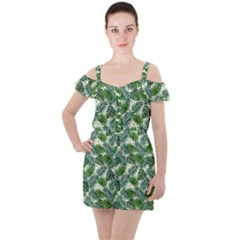 Leaves Tropical Wallpaper Foliage Ruffle Cut Out Chiffon Playsuit