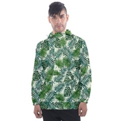 Leaves Tropical Wallpaper Foliage Men s Front Pocket Pullover Windbreaker