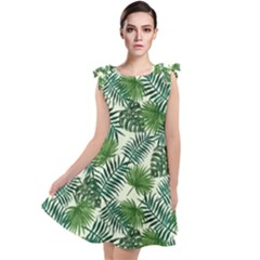 Leaves Tropical Wallpaper Foliage Tie Up Tunic Dress