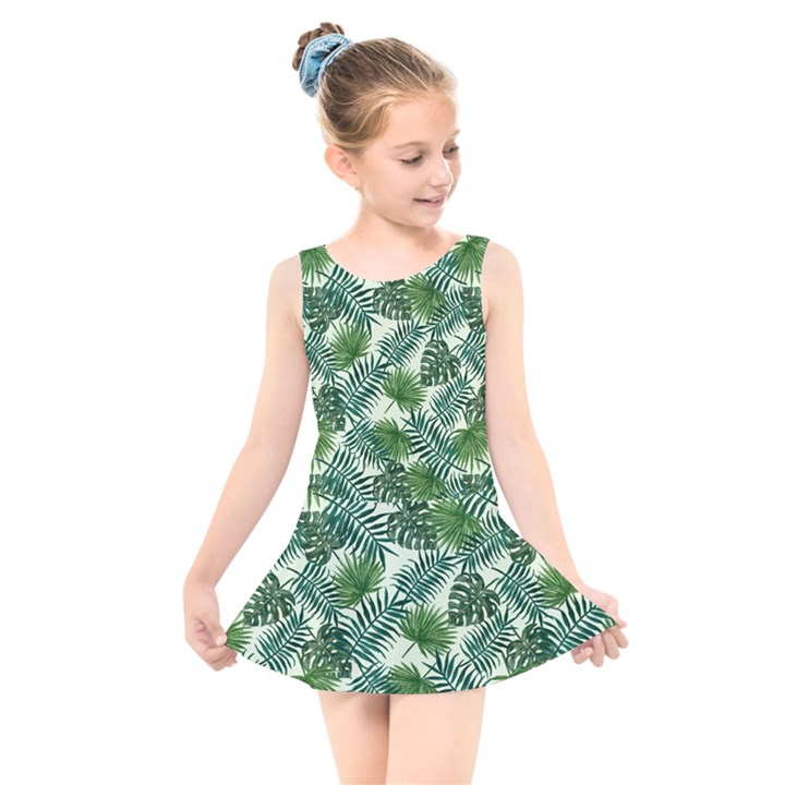 Leaves Tropical Wallpaper Foliage Kids  Skater Dress Swimsuit