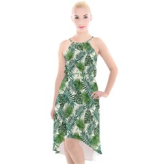 Leaves Tropical Wallpaper Foliage High-Low Halter Chiffon Dress