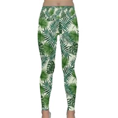 Leaves Tropical Wallpaper Foliage Lightweight Velour Classic Yoga Leggings