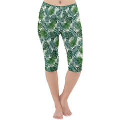 Leaves Tropical Wallpaper Foliage Lightweight Velour Cropped Yoga Leggings