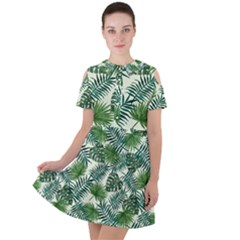 Leaves Tropical Wallpaper Foliage Short Sleeve Shoulder Cut Out Dress