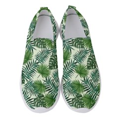 Leaves Tropical Wallpaper Foliage Women s Slip On Sneakers