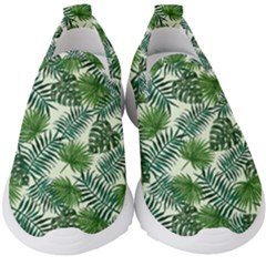 Leaves Tropical Wallpaper Foliage Kids  Slip On Sneakers