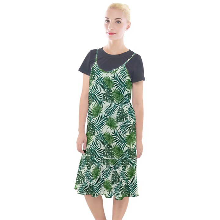 Leaves Tropical Wallpaper Foliage Camis Fishtail Dress