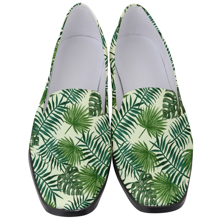 Leaves Tropical Wallpaper Foliage Women s Classic Loafer Heels