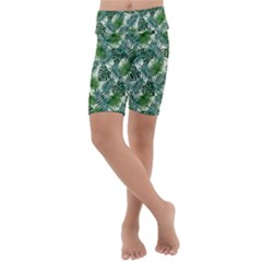 Leaves Tropical Wallpaper Foliage Kids  Lightweight Velour Cropped Yoga Leggings