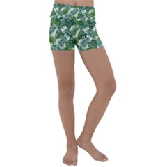 Leaves Tropical Wallpaper Foliage Kids  Lightweight Velour Yoga Shorts