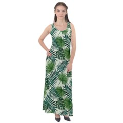 Leaves Tropical Wallpaper Foliage Sleeveless Velour Maxi Dress