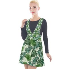 Leaves Tropical Wallpaper Foliage Plunge Pinafore Velour Dress