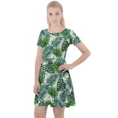Leaves Tropical Wallpaper Foliage Cap Sleeve Velour Dress