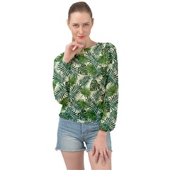 Leaves Tropical Wallpaper Foliage Banded Bottom Chiffon Top