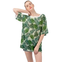 Leaves Tropical Wallpaper Foliage Oversized Chiffon Top