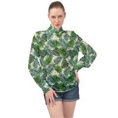 Leaves Tropical Wallpaper Foliage High Neck Long Sleeve Chiffon Top