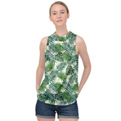 Leaves Tropical Wallpaper Foliage High Neck Satin Top