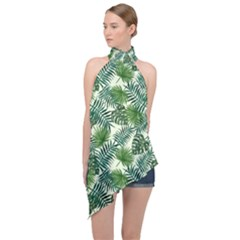 Leaves Tropical Wallpaper Foliage Halter Asymmetric Satin Top