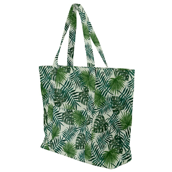 Leaves Tropical Wallpaper Foliage Zip Up Canvas Bag