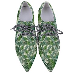 Leaves Tropical Wallpaper Foliage Pointed Oxford Shoes