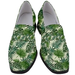 Leaves Tropical Wallpaper Foliage Women s Chunky Heel Loafers