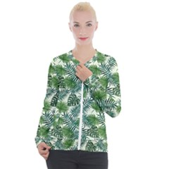 Leaves Tropical Wallpaper Foliage Casual Zip Up Jacket
