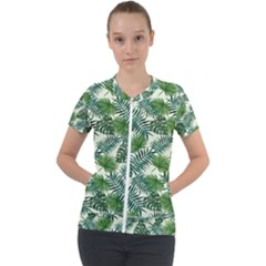 Leaves Tropical Wallpaper Foliage Short Sleeve Zip Up Jacket