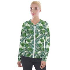 Leaves Tropical Wallpaper Foliage Velour Zip Up Jacket