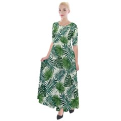 Leaves Tropical Wallpaper Foliage Half Sleeves Maxi Dress