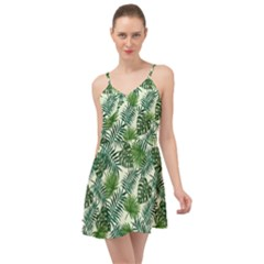 Leaves Tropical Wallpaper Foliage Summer Time Chiffon Dress