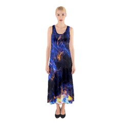 Universe Exploded Sleeveless Maxi Dress by WensdaiAmbrose