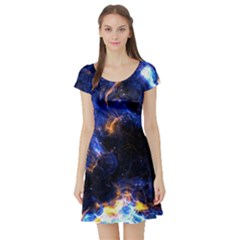 Universe Exploded Short Sleeve Skater Dress by WensdaiAmbrose