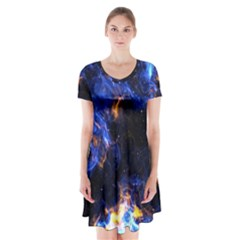 Universe Exploded Short Sleeve V Neck Flare Dress by WensdaiAmbrose