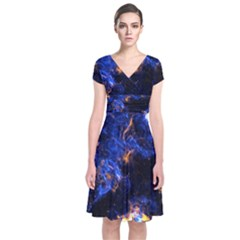 Universe Exploded Short Sleeve Front Wrap Dress by WensdaiAmbrose