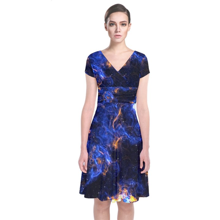Universe Exploded Short Sleeve Front Wrap Dress