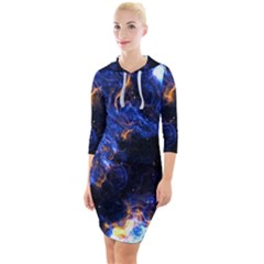Universe Exploded Quarter Sleeve Hood Bodycon Dress by WensdaiAmbrose