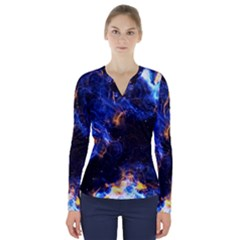 Universe Exploded V Neck Long Sleeve Top by WensdaiAmbrose