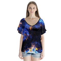 Universe Exploded V Neck Flutter Sleeve Top by WensdaiAmbrose