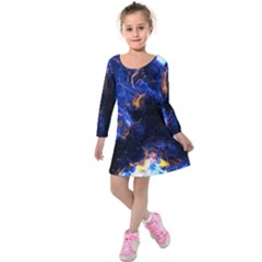 Universe Exploded Kids  Long Sleeve Velvet Dress by WensdaiAmbrose