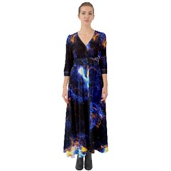 Universe Exploded Button Up Boho Maxi Dress by WensdaiAmbrose