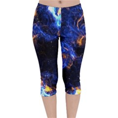 Universe Exploded Velvet Capri Leggings  by WensdaiAmbrose