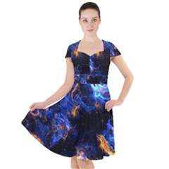 Universe Exploded Cap Sleeve Midi Dress by WensdaiAmbrose