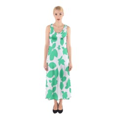 Botanical Motif Print Pattern Sleeveless Maxi Dress