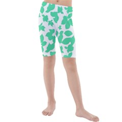 Botanical Motif Print Pattern Kids  Mid Length Swim Shorts