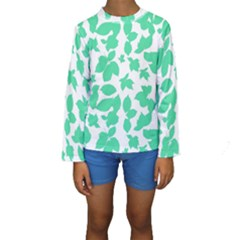 Botanical Motif Print Pattern Kids  Long Sleeve Swimwear