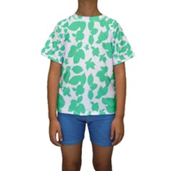 Botanical Motif Print Pattern Kids  Short Sleeve Swimwear