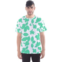 Botanical Motif Print Pattern Men s Sports Mesh Tee