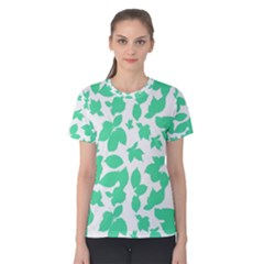 Botanical Motif Print Pattern Women s Cotton Tee