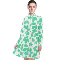 Botanical Motif Print Pattern Long Sleeve Chiffon Shirt Dress