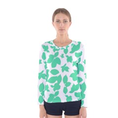 Botanical Motif Print Pattern Women s Long Sleeve Tee
